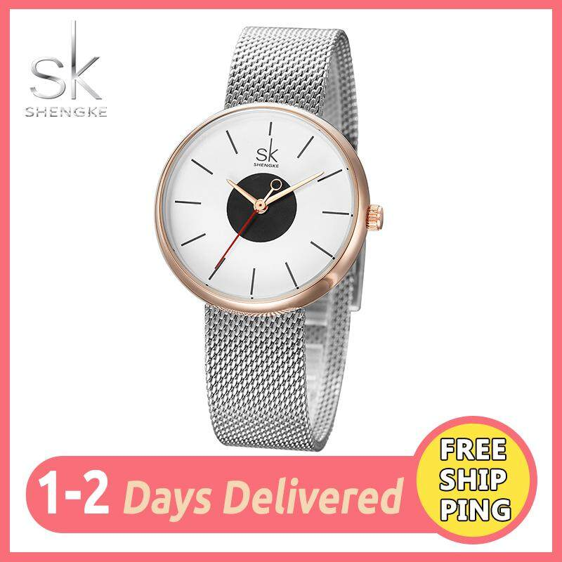 SK Casual Watch for Women Classic Fashion New Waterproof Original Round Dial Girl Ladies Female Mesh Strap Quartz Silver Watches Jam Tangan Wanite Malaysia