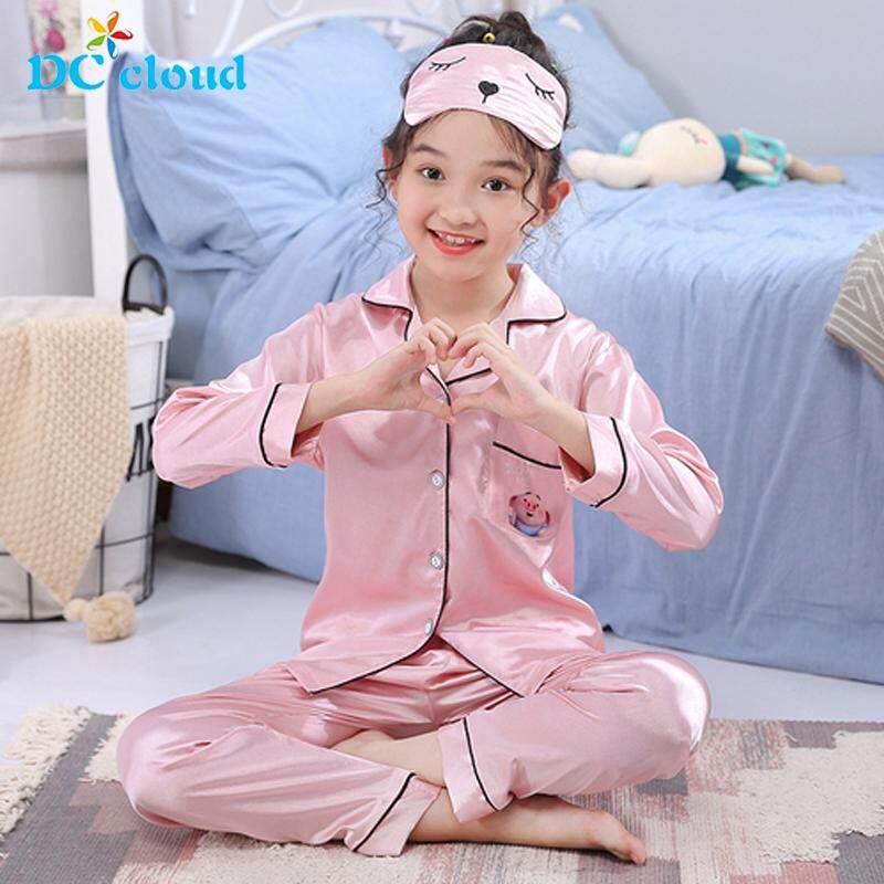 Toddler Baby Kids Girls Boy Satin Long sleeve Pajamas Set Smooth Sleepwear 3-10T