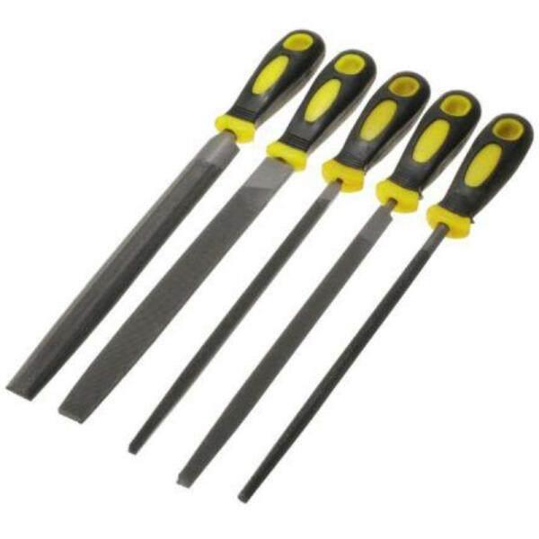 5Pcs/Set Engineer Metal File 8 Inch 200mm Soft Grip Assorted Half Round Flat SquareTriple-cornered Round Metal File Set