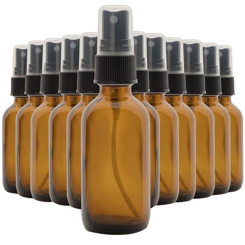 Set of 12, 2 Oz Amber Glass Spray Bottles for Essential Oils - with Fine Mist Sprayers