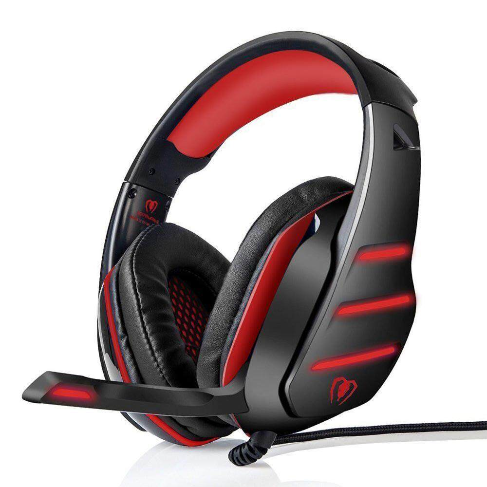 NiceToEmpty GM-3 Stereo Gaming Headset for PS4, PC, Xbox, Switch, Ipad, Smart Phones, Over-head Headphone with Noise Cancelling Mic, LED Light & Volume Control