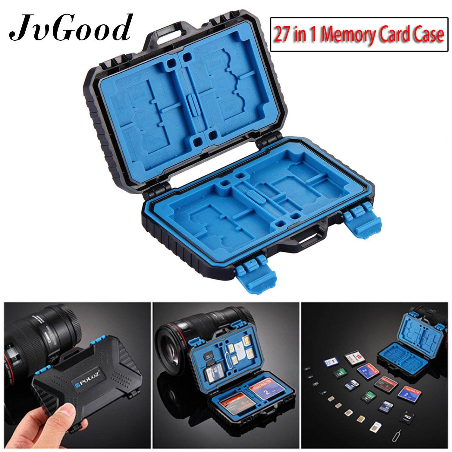 JvGood เมมโมรี่การ์ด box Memory Card Case SD Card Storage Box Waterproof Shockproof Protection Micro SD Card Case Holder TF SD CF Cards Carrying Case Storage Box(27 Slots)