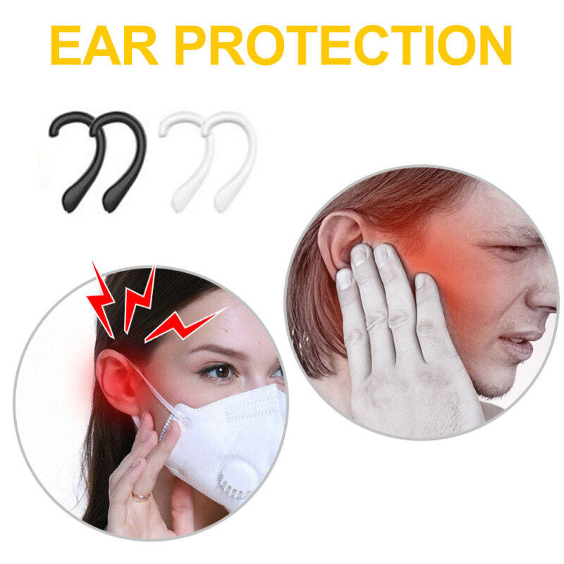 4 pairs Elastic Soft Silicone Protection Ear Hook Reusable Anti-Leak Anti Strangulation Anti-Pain Invisible Earmuffs Ear Protection Ear Grips Extension Hook Ear Artifact Prevention