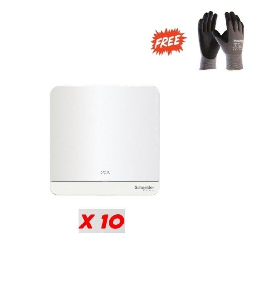 1 Box (10pcs) - Schneider AvatarOn 20A 1 Gang Double Pole Switch with LED ,White - (Free ATG PPE safety glove L Size)