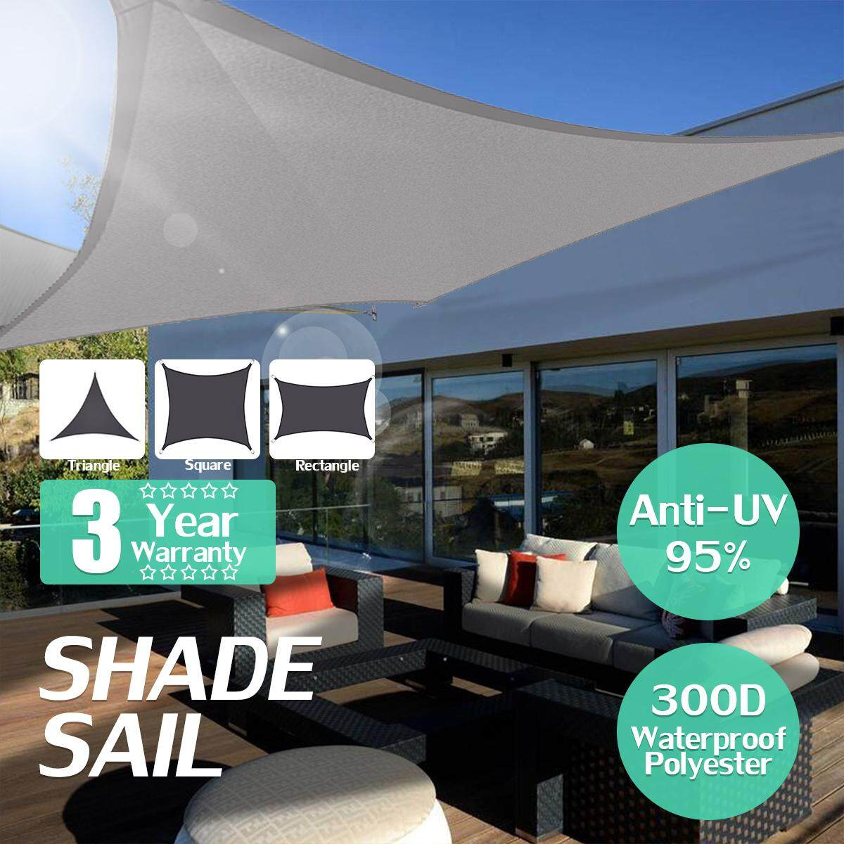 Black 300D 160GSM Waterproof Polyester Oxford Fabric Shade Sail Rectangle