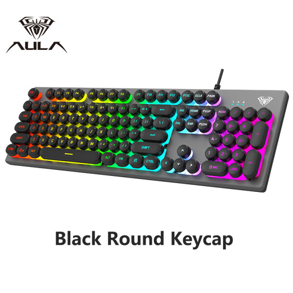 AULA S2056 Membrane Gaming Keyboard USB Wired Backlight Metal ABS Floating Keycap Professional Gaming Keyboard for E-sports Computer Gamer Singapore