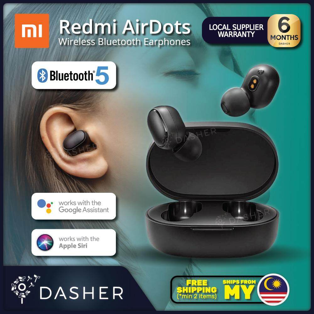 [LATEST] Xiaomi Redmi AirDots TWS Mi True Wireless EarBuds Basic Earphone  Bluetooth 5 0 Bass Voice Control (BLACK)