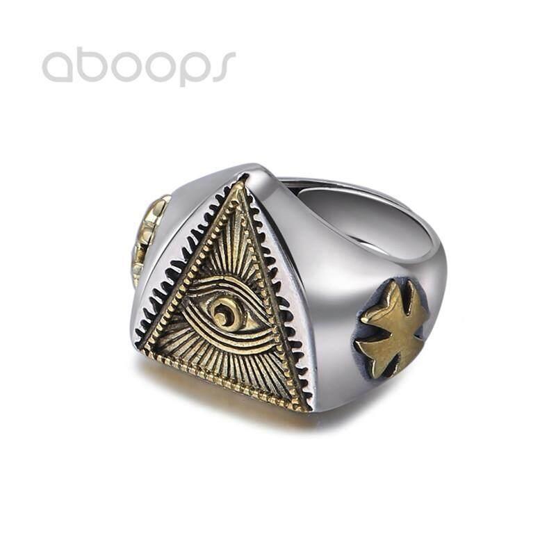 ee38e6412 Two Tone 925 Sterling Silver Freemason Masonic Ring Golden All Seeing Eye &  Cross for Men