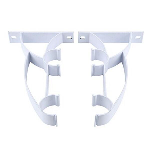Double Rod Holder Curtain Pole Bracket Heavy Duty Metal Aluminum Alloy 2 Pcs