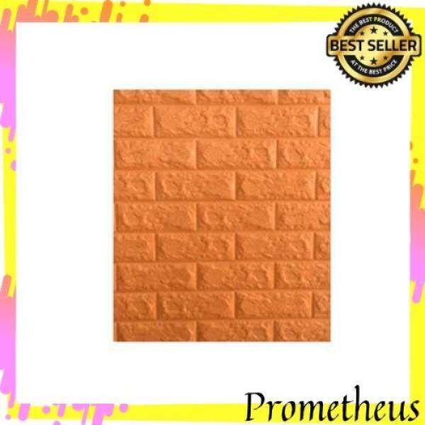 HOT ITEM Waterproof Foam 3D Brick Wall Stickers Home Decor DIY Self Adhesive Wallpaper (Orange)