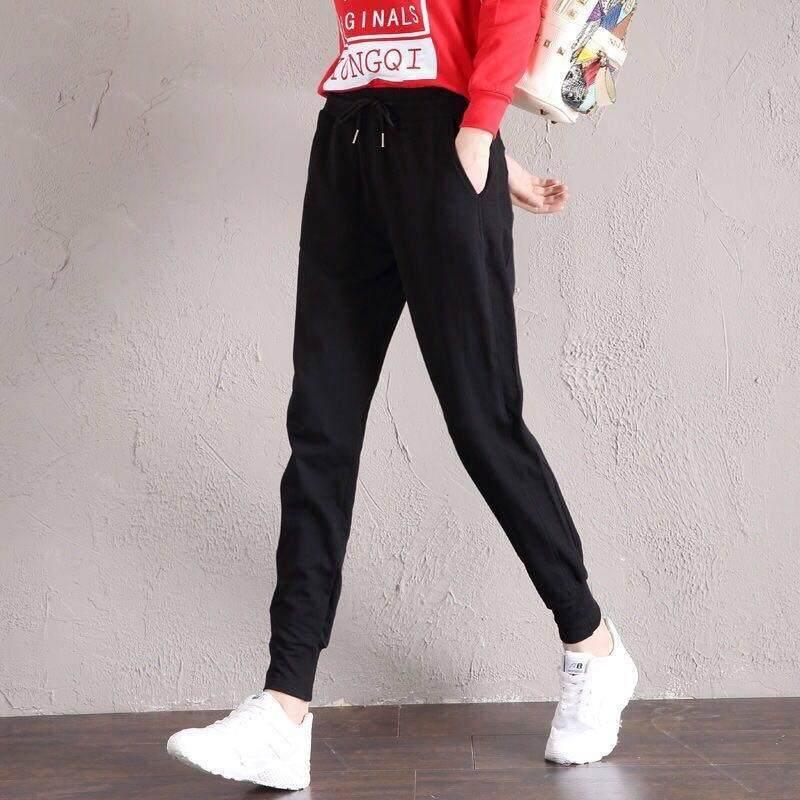 23443de8d Vestline Korean Women Sport Pant Loose And Versatile Slim Black Casual Thin  Sports Harem Pants