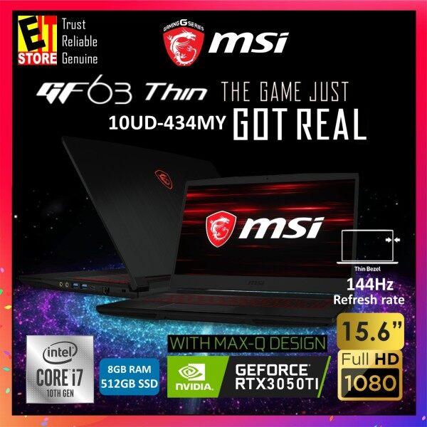 MSI GF63 THIN 10UD-434MY GAMING LAPTOP (I7-10750H/8GB/512GB SSD/15.6 FHD 144Hz/4GB RTX3050 TI MAXQ/W10/2YRS) + BACKPACK Malaysia