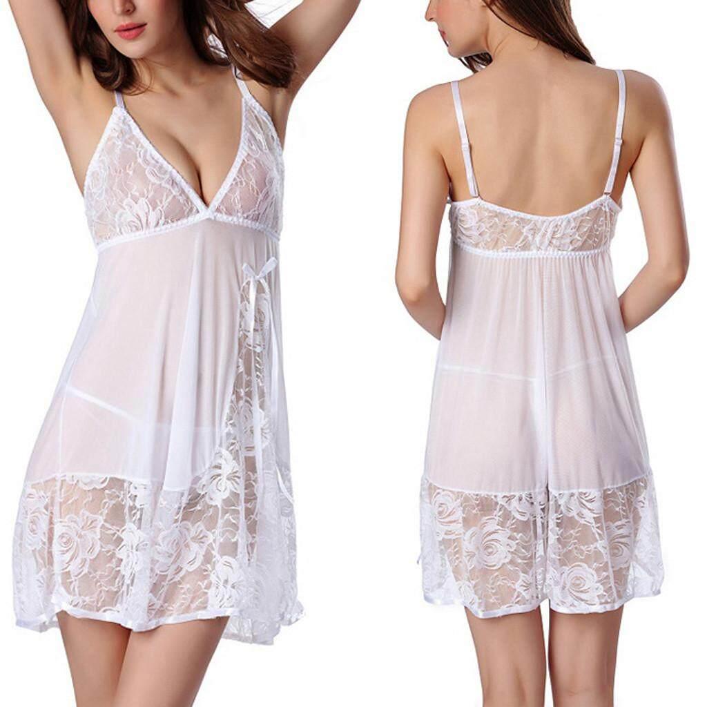 7d141052fa High End Ladies Lingerie Sleepwear Women Plus Size Lace Bow Underwear Night  Dress