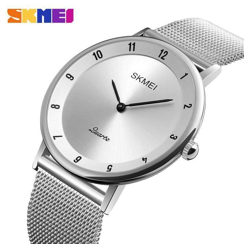 SKMEI Đồng hồ đeo tay kiểu dáng thời trang dành cho cả nam và nữ đồng hồ đeo tay mặt đá thạch anh họa tiết đơn giản chống thấm nước làm bằng thép không gỉ 1264 - INTL bán chạy