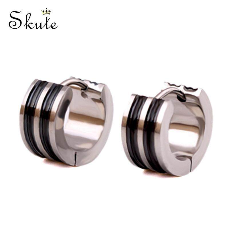 5a4023f97 ❤Skute Men's Gents Punk Titanium Striped Ear Stud Stainless Steel Unisex Fashion  Earrings for Men