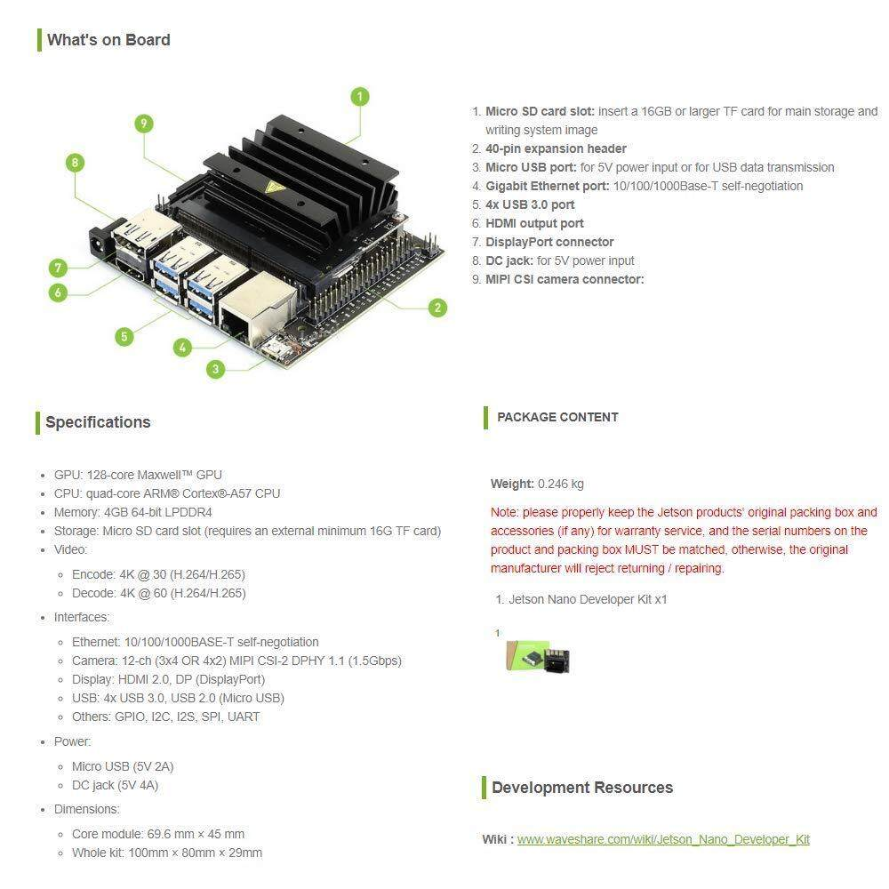 WaveShare NVIDIA Jetson Nano Developer Kit a Small Powerful Computer for AI  Development Support Running Multiple Neural Networks in Parallel