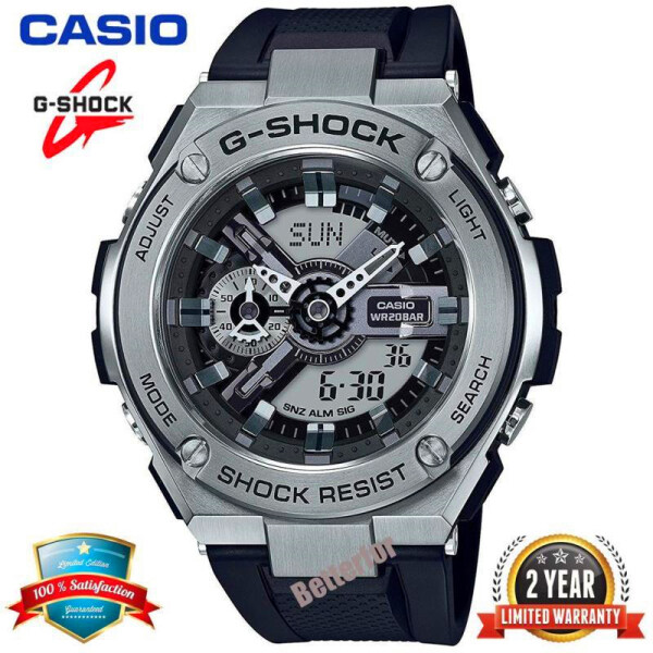 (free shipping) Original G Shock GST410 Men Sport Watch Dual Time Display 200M Waterproof and Shockproof World Time LED Auto Light Stainless Steel Wist Sports Watches GST-410-1AER Black Silver Malaysia