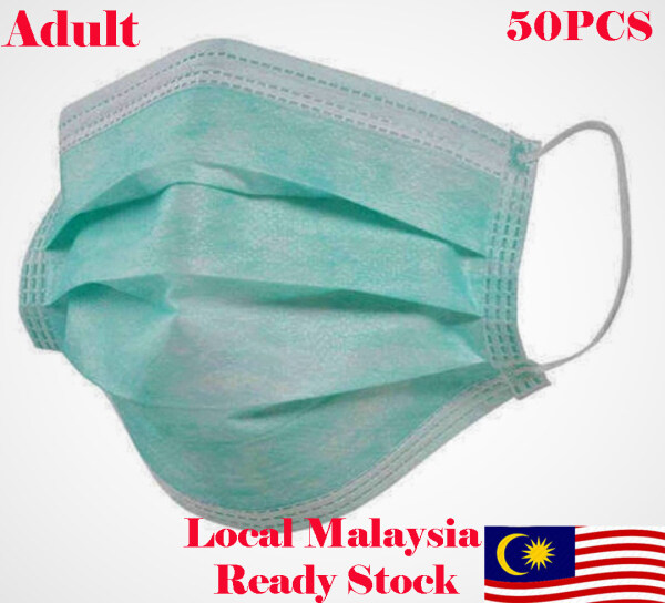 [Local Malaysia Ready Stock] Green Colour Adult Disposable Face Mask 3ply 50pcs (Box)