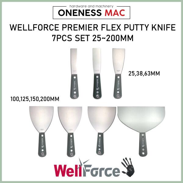 Wellforce Premier Putty Scraper 7PCS Set 25MM,38MM,63MM,100MM,125MM,150MM,200MM