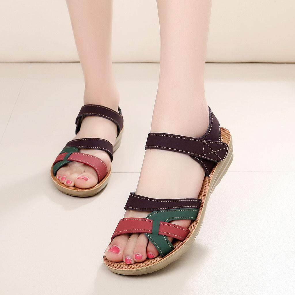 3ab0ecd269b7 sophiadeals Women Ladies Summer Fashion Leather Sandals Wedges Comfort Big Size  Shoes