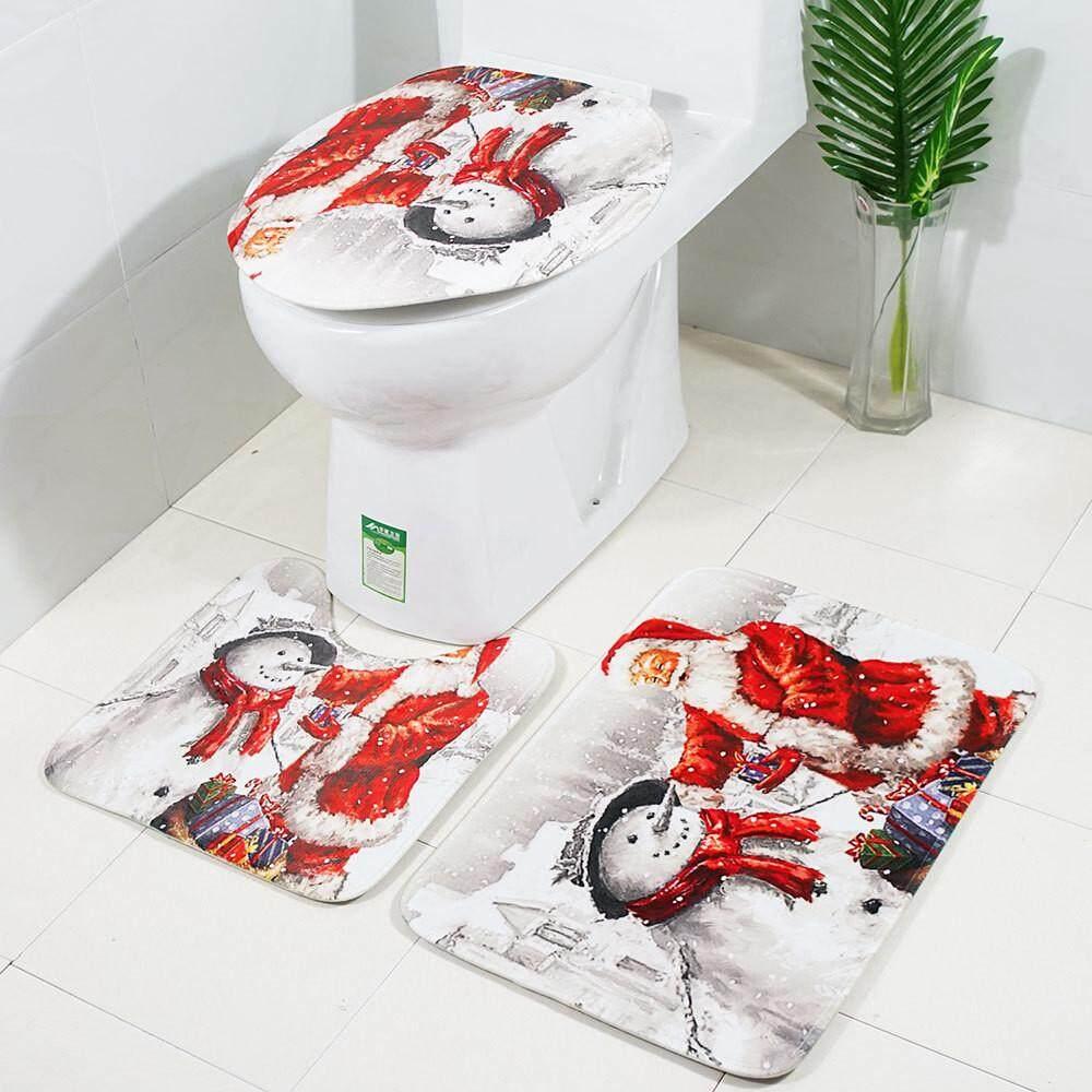 3pcs Christmas Suction Grip Bath Mat Bathroom Kitchen Carpet Doormats Decor