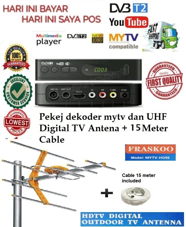 Megogo K2 Pro + Ant 8 Element UHF Antenna + cable 15m