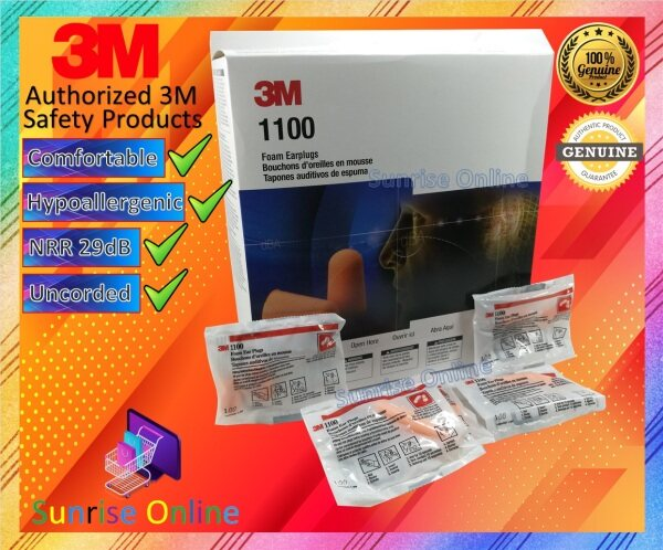 [ORIGINAL] 3M Foam Earplugs 1100, Uncorded [200 Pairs in 1 Box] {Noise Reduction Rating (NRR) 29 dB} (GENUINE 3M PRODUCT)
