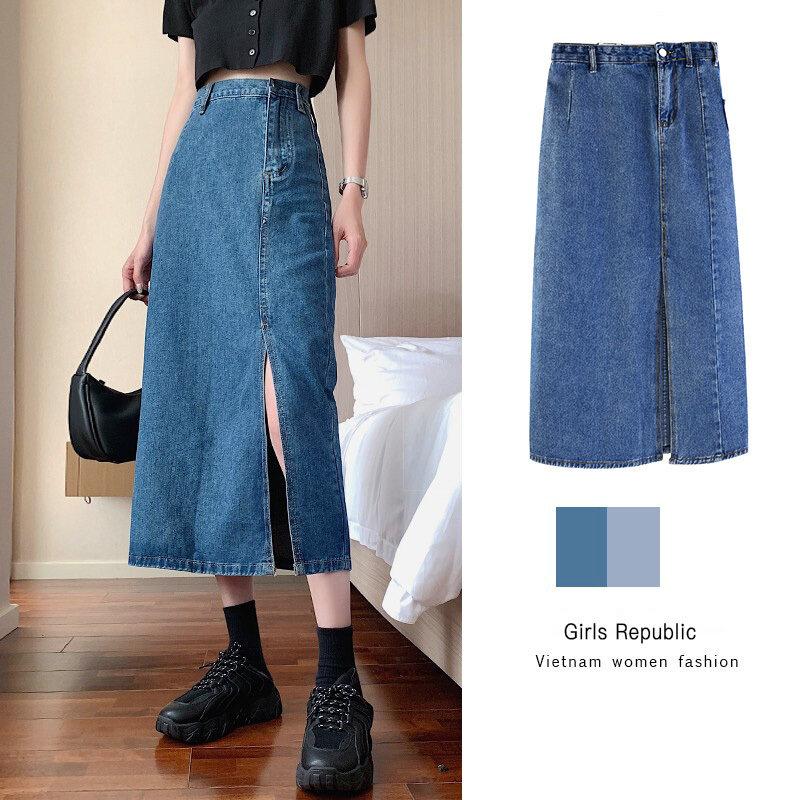 Nơi bán Girls Republic Thời Trang Hàn Quốc Váy Xẻ Eo Cao Cổ Điển Cho Nữ Denim Váy Phụ Nữ
