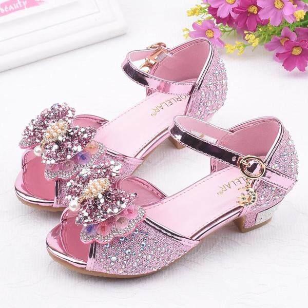 Giá bán Giày công chúa dành cho bé gái chất liệu lấp lánh chi tiết nơ xinh xắn có đính ngọc trai KIO