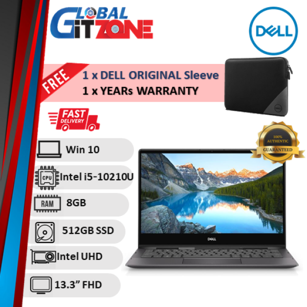 Dell Inspiron 7391-2185SG-W10-DFO 13.3 FHD Touch 2in1 Laptop Black ( I5-10210U, 8GB, 512GB, Intel, W10 ) NoteBok Malaysia