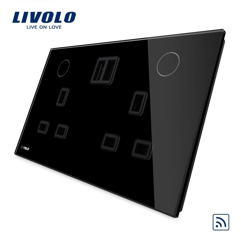 Livolo UK standard double power socket with remote function +2 USB ,13A,110-250V,2 color