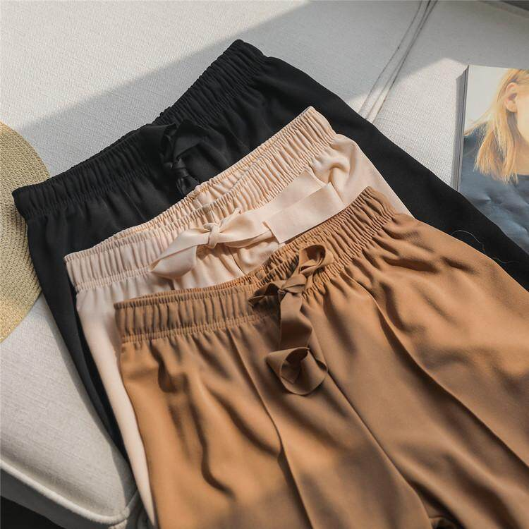1a440b23b08 High waist wide leg pants female loose Korean version nine separate fork  casual harem pants apricot