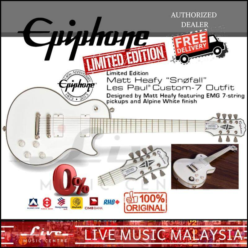 Epiphone Limited Edition Matt Heafy Snofall Les Paul Custom-7 Outfit Electric Guitar, Alpine White Malaysia