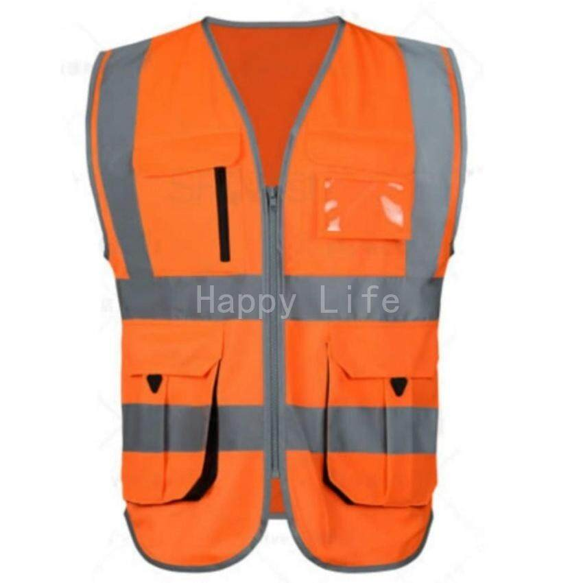 HLS High Visibility Reflective Safety Vest Reflective Vest Multipockets Workwear Safety Waistcoat(Orange M Size)