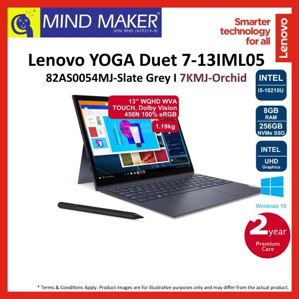 Lenovo YOGA Duet 7‐13IML05 82AS0054MJ Slate Grey/ 7KMJ Orchid 13 WQHD NoteBook (i5‐10210U/8GB/256GB NVMe SSD/UHD Graphics/Win10) Malaysia