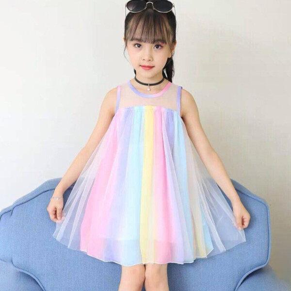 Giá bán Váy Bé Gái [COD] Diềm Xếp Nếp Không Tay Cho Bé Gái Trẻ Mới Biết Đi Đầm Có Dây Đeo Đi Biển Cầu Vồng Miễn Phí Vận Chuyển