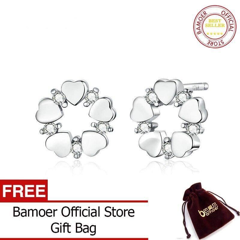 Bamoer Mạ Tròn Trái Tim Bông Tai Nữ Bạc 925 Trang Sức Cưới Đính Hôn Earings Thời Trang 2019 BSE297