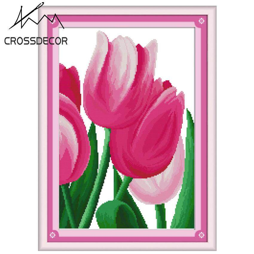 Hot Sale Pink Tulip (2)  Concise Style Precise Stamped Cross-Stitch Complete Set DIY Handmade Embroidery Needlework 11CT Pre-Printed On the Cloth Home Room Decor DMC Complete Kits
