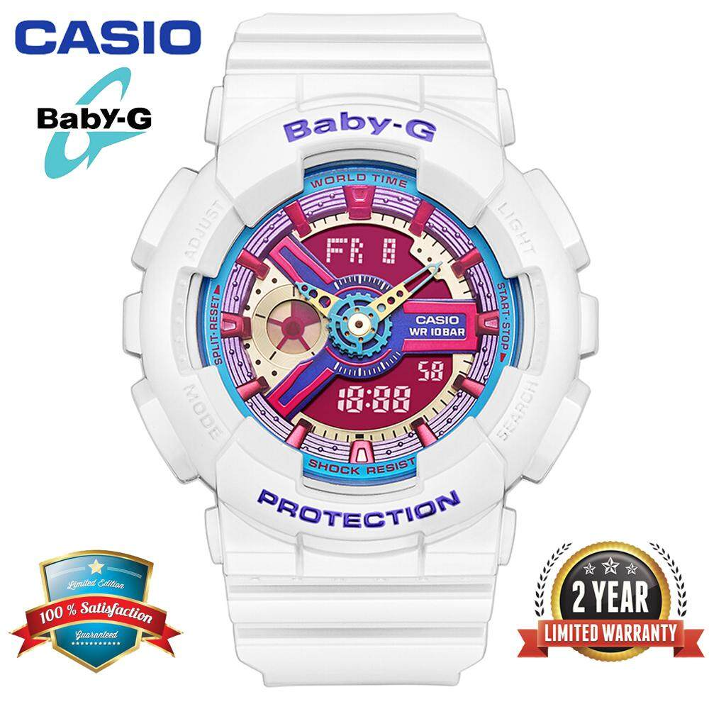 (Ready Stock)Original Casio Baby G_BA-112-7A Women Sport Digital Watch Duo W/Time 200M Water Resistant Shockproof and Waterproof World Time LED Light Girl Wist Sports Watches with 2 Year Warranty BA112/BA-112 White Malaysia