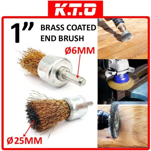 1 BRASS COATED DRILL WIRE CUP END BRUSH with SHANK ( RUST , CORROSION , PAINT REMOVER ) - B1-08-EB10