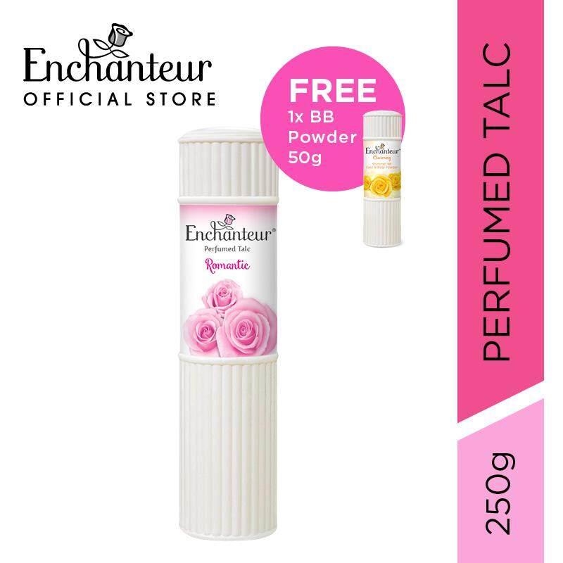 ENCHANTEUR Romantic Perfumed Talc 250g free ENCHANTEUR Charming Perfumed  Shimmer BB Powder 50g