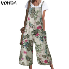 Vondaผู้หญิงstrappy jumpsuitดอกไม้ปาร์ตี้วันหยุดเสื้อคลุมหลวมๆกางเกงขายาวculottesหลวม