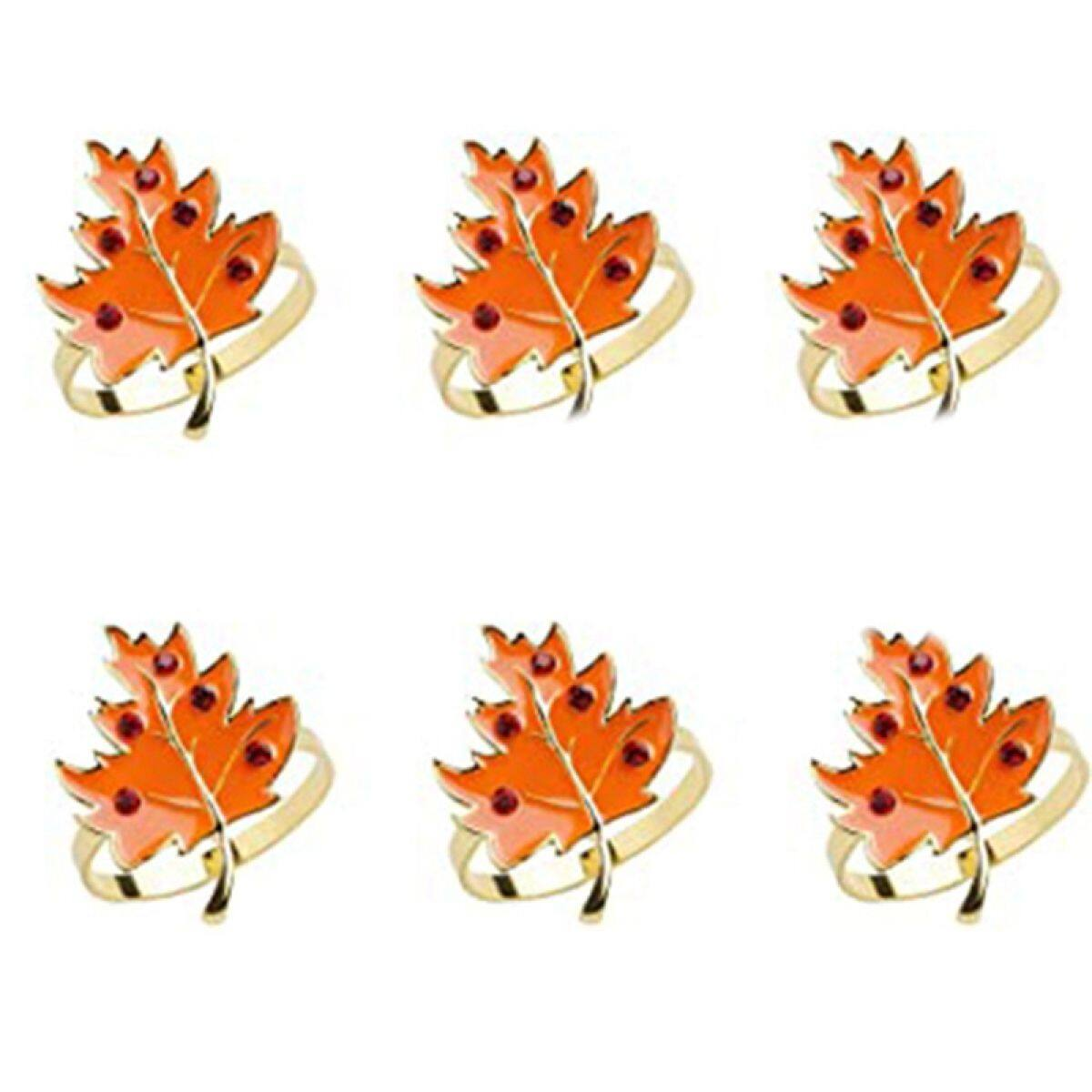 6pcs Napkin Rings Golden Holder Rings Designed With Orange Maple Harvest Farmhouse Style For Thanksgiving Day Holiday Lazada