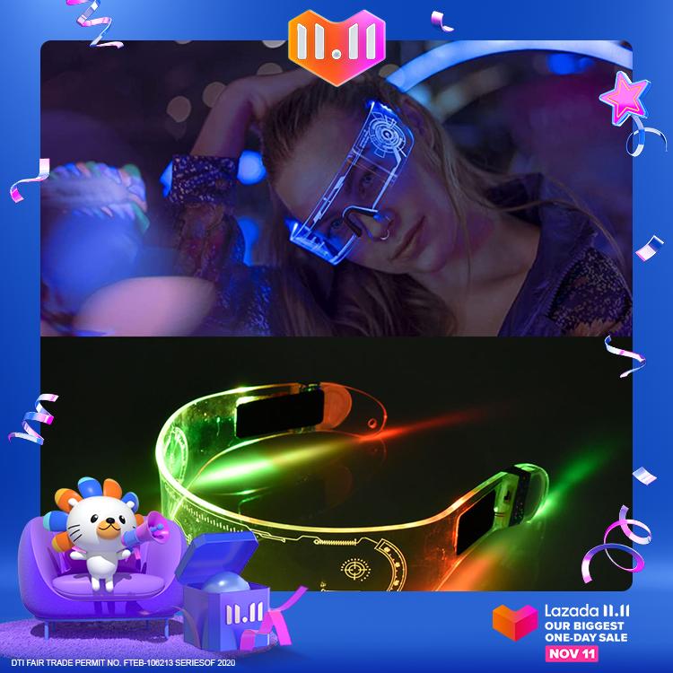 Kính phát sáng Halloween có đèn LED, kính phát sáng quang học thích hợp cho các bữa tiệc Halloween và giáng sinh đạo cụ lễ hội sân khấu KTV