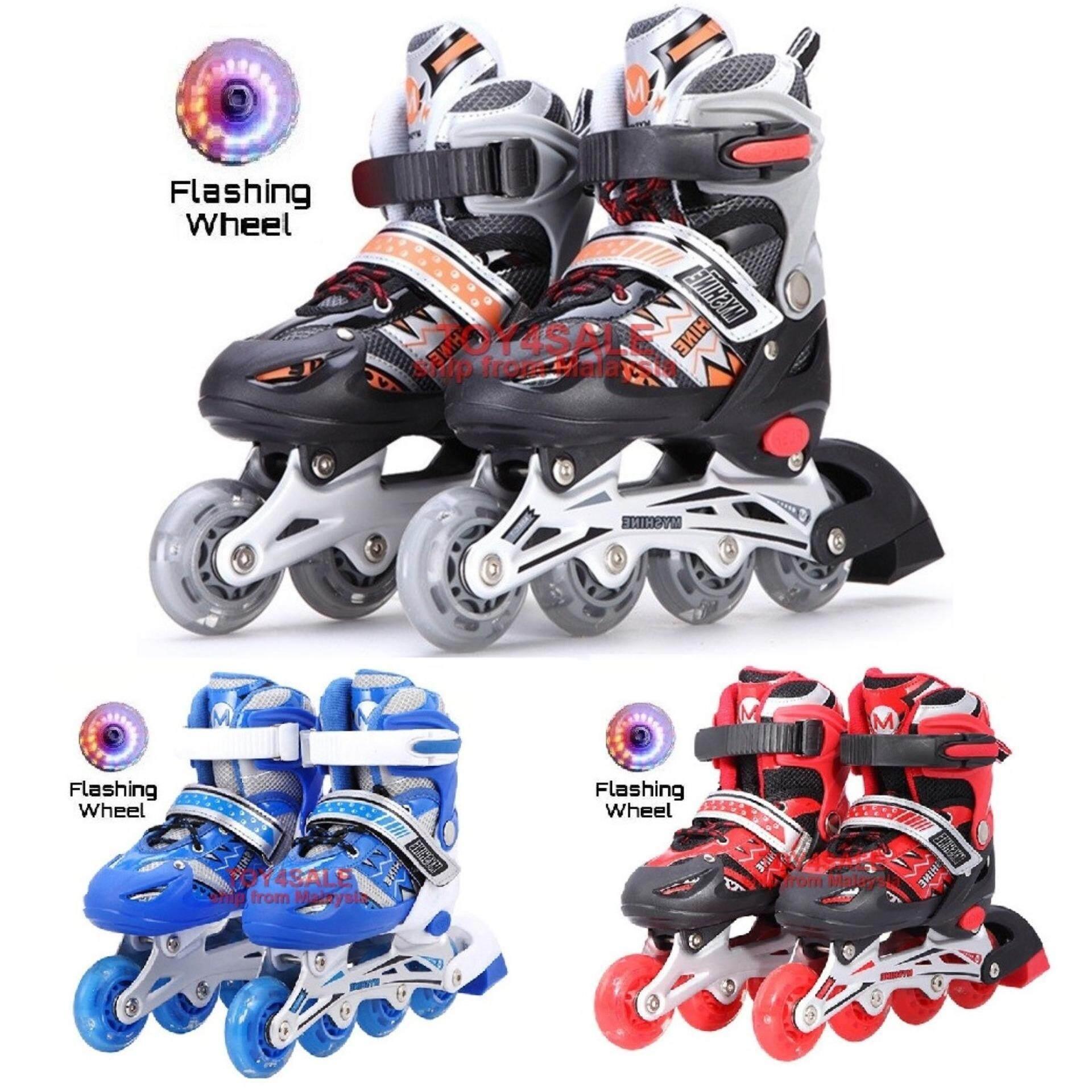 Kids   Adult Rollerblade Inline Skate + LED Wheel Adjustable Shoe Roller  Blade Kasut Roda dc9aee708d