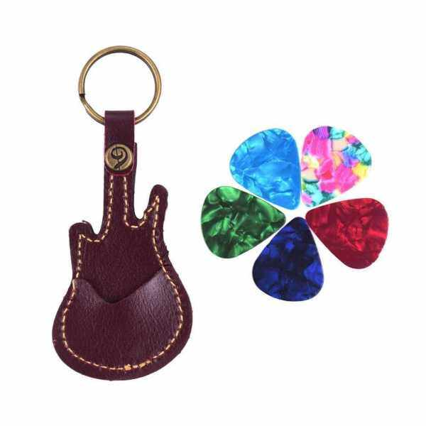 Leather Guitar Picks Holder Case Bag Guitar Shape with Key Ring 5pcs Celluloid Guitar Picks String Instrument Accessories (Red & Brown) Malaysia