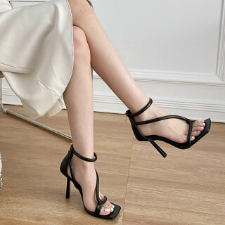 Womens Heeled Sandals Open Square Toe Strappy Stiletto Party High Heels thumbnail