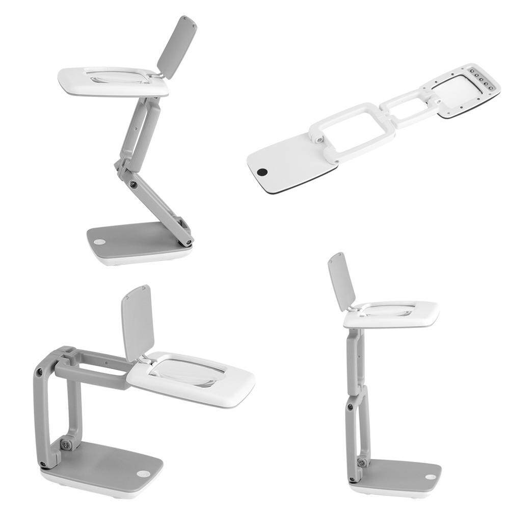 [salmopho+ Magnifying Glass]Portable Foldable 3X Magnifier LED Desktop Lamp Light Reading Writing Magnifying Glass White + gray