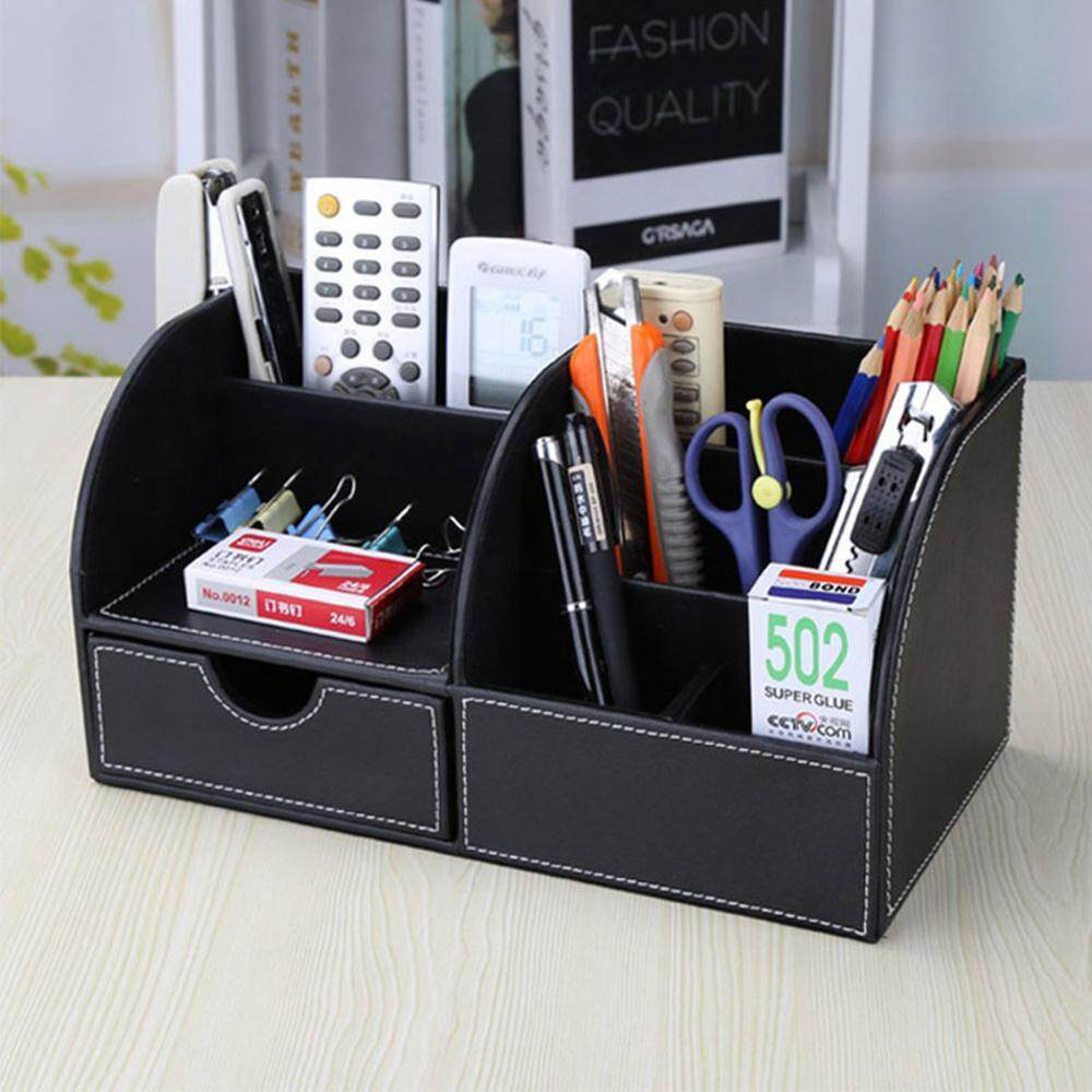 78b2ca6a6a OutFlety Multi-function PU Leather Desk Stationery Organizer Office Desktop  Storage Box, for Pen