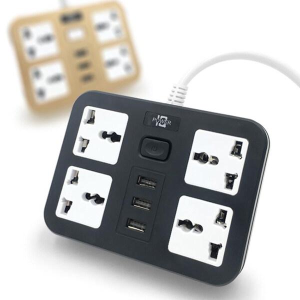 Bảng giá Amagogo Ổ Cắm Điện Du Lịch Thiết Bị Chống Sét Di Động 3 Cổng USB, Nhanh Chóng-Sạc Phong Vũ